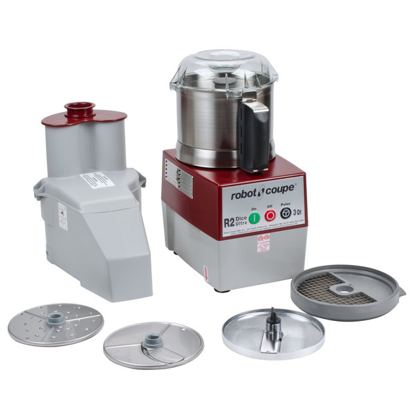 Robot Coupe R2 Dice Ultra Combination Continuous Feed Food Processor / Dicer with 3 Qt. Stainless Steel Bowl - 2 hp