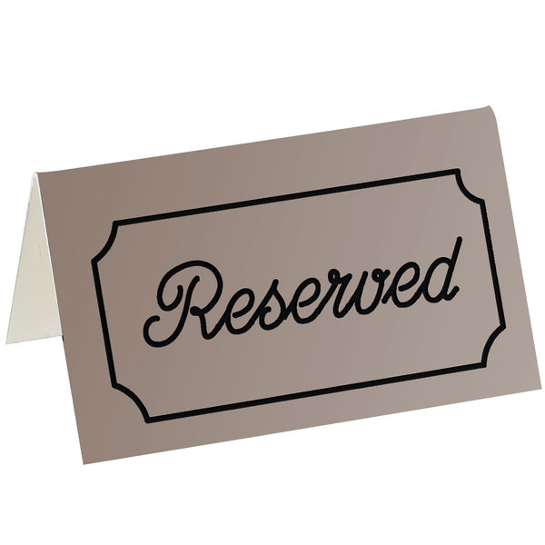 """Cal-Mil 273-11 5"""" x 3"""" Brown/Black Double-Sided """"Reserved"""" Tent Sign Main Image 1"""