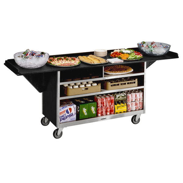 "Lakeside 676B Black Vinyl 4 Shelf Stainless Steel Beverage Service Cart with Drop Leaves - 24"" x 61 3/4"" x 38 1/4"" Main Image 1"