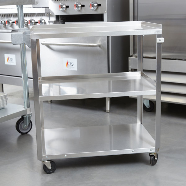 "Vollrath 97121 Stainless Steel 3 Shelf Utility Cart - 30 1/2"" x 18 1/2"" x 32"""
