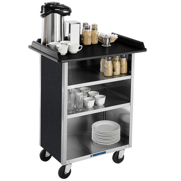 "Lakeside 636B Black Laminate 4 Shelf Stainless Steel Beverage Service Cart - 21"" x 30 1/4"" x 38 1/4"" Main Image 1"