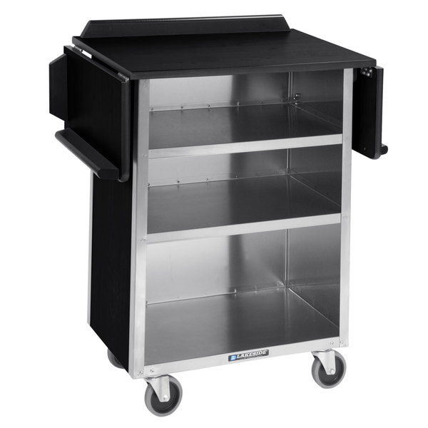 """Lakeside 672B Black Vinyl 4 Shelf Stainless Steel Beverage Service Cart with Drop Leaves - 21"""" x 33 1/8"""" x 38 1/4"""" Main Image 1"""