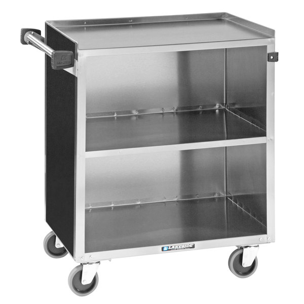 "Lakeside 644B Black Laminate 3 Shelf Stainless Steel Beverage Service Cart - 39 1/4"" x 22 1/2"" x 37 3/8"" Main Image 1"