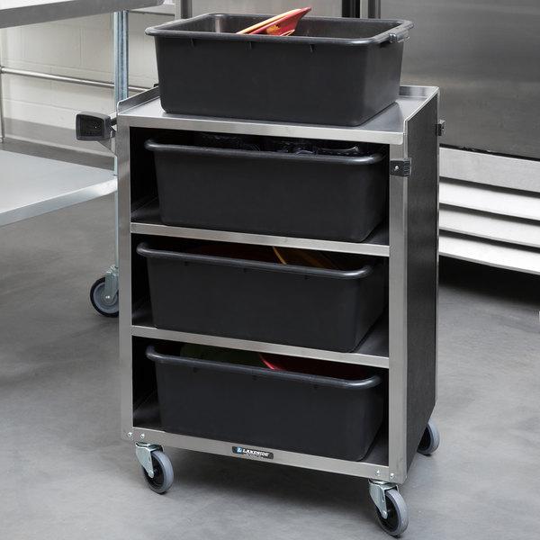 "Lakeside 615B Black Laminate 4 Shelf Stainless Steel Utility Cart - 27 3/4"" x 16 1/2"" x 32 3/4"" Main Image 3"