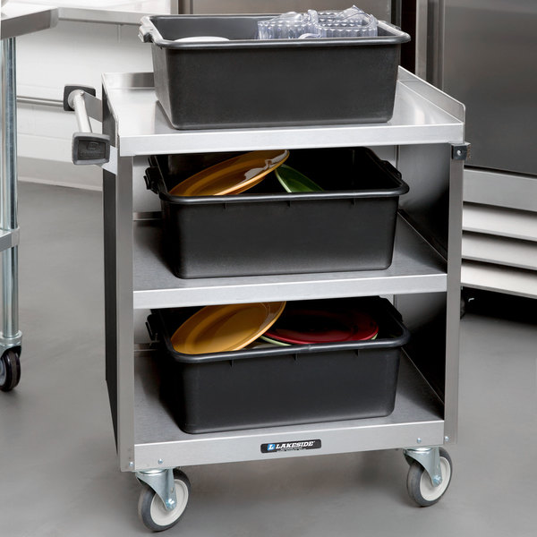 "Lakeside 822B 3 Shelf Heavy Duty Stainless Steel Utility Cart with Enclosed Base and Black Laminate Finish - 19 1/2"" x 31 1/4"" x 34 1/2"""
