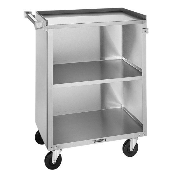 "Lakeside 810 3 Shelf Medium Duty Stainless Steel Utility Cart with Enclosed Base - 16 7/8"" x 28 1/4"" x 34 1/2"" Main Image 1"