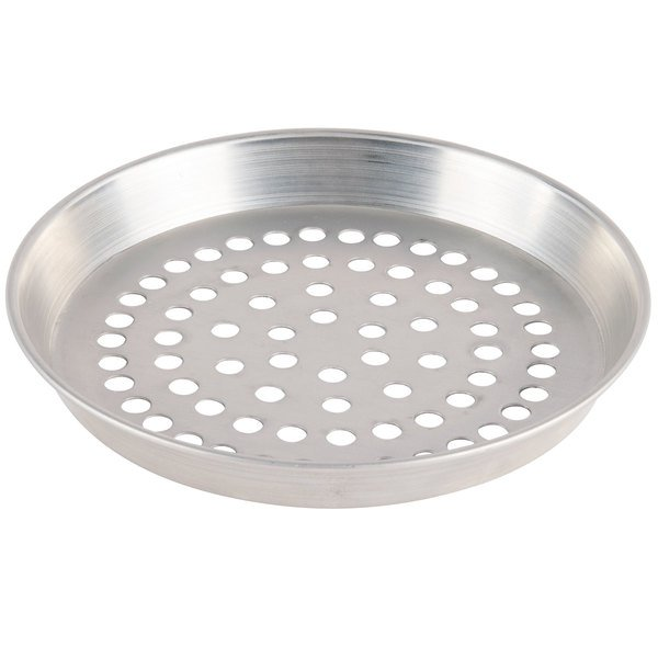 "American Metalcraft SPADEP6 6"" x 1"" Super Perforated Standard Weight Aluminum Tapered / Nesting Deep Dish Pizza Pan"