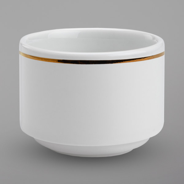 Homer Laughlin 17227404 Gala Mia Gold 8 oz. Stacking Bright White China Bouillon with Gold Band - 12/Case