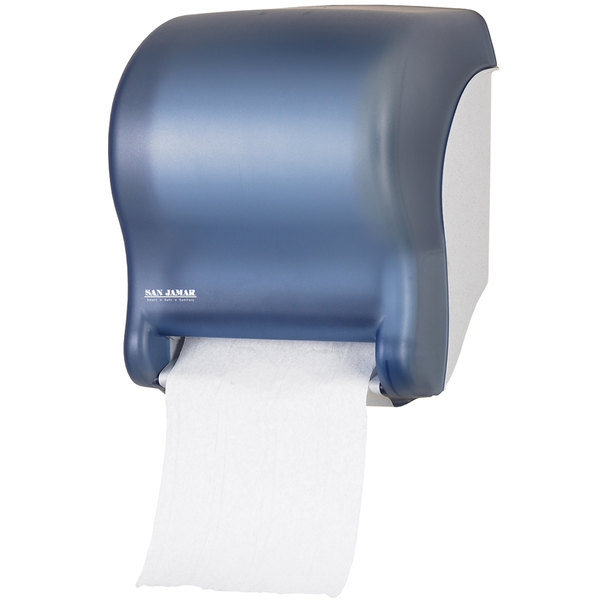 San Jamar T8000TBL Tear-N-Dry Essence Hands Free Roll Towel Dispenser - Arctic Blue