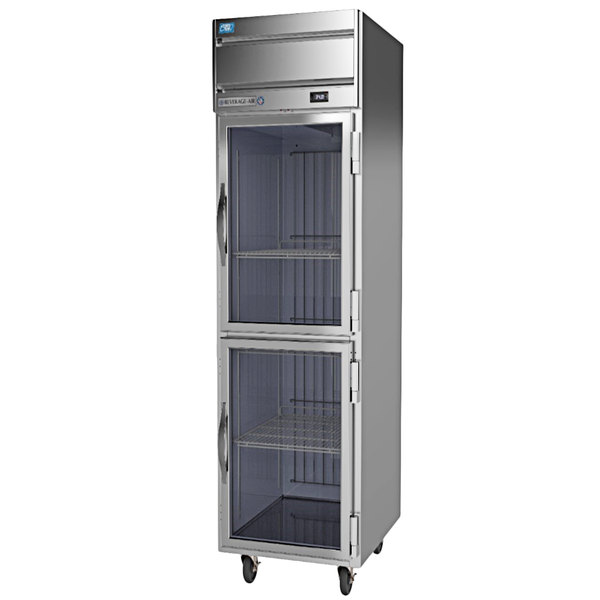 Beverage-Air CT1HC-1HG Cross-Temp 1 Section Convertible Reach-In Refrigerator / Freezer with Half Glass Doors Main Image 1