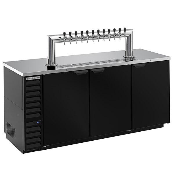 Beverage-Air DD78HC-1-B-12T Twelve Tap Kegerator Beer Dispenser - Black, (4) 1/2 Keg Capacity Main Image 1