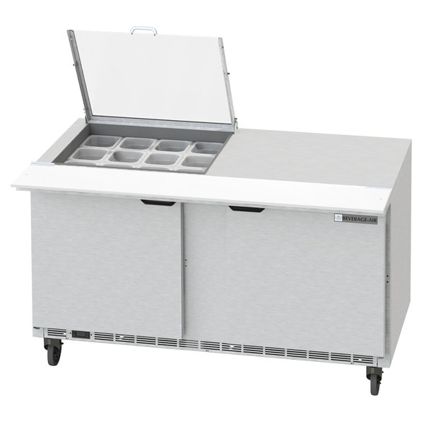 "Beverage-Air SPED60HC-12M-2-CL Elite Series 60"" 2 Drawer Mega Top Refrigerated Sandwich Prep Table with Clear Lid"