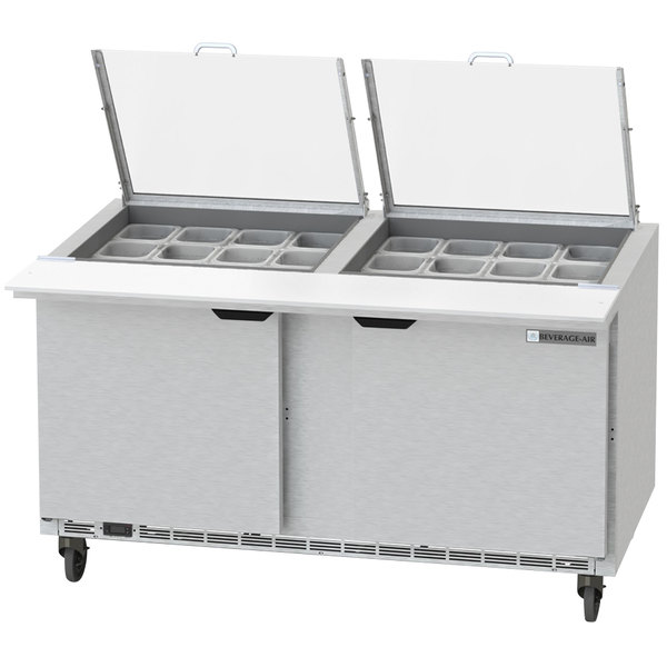 """Beverage-Air SPED60HC-24M-4-CL Elite Series 60"""" 4 Drawer Mega Top Refrigerated Sandwich Prep Table with Clear Lid"""
