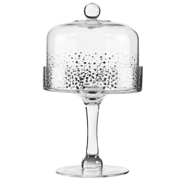 """The Jay Companies Fitz & Floyd Luster 6 1/2"""" Glass Pedestal Cake Stand with Silver Dome Cover Main Image 1"""