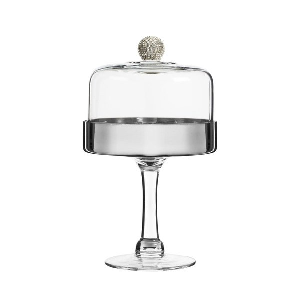 The Jay Companies Fitz Floyd Medley 6 1 2 Gl Pedestal Cake Stand With Silver Plate And Beaded Dome Cover