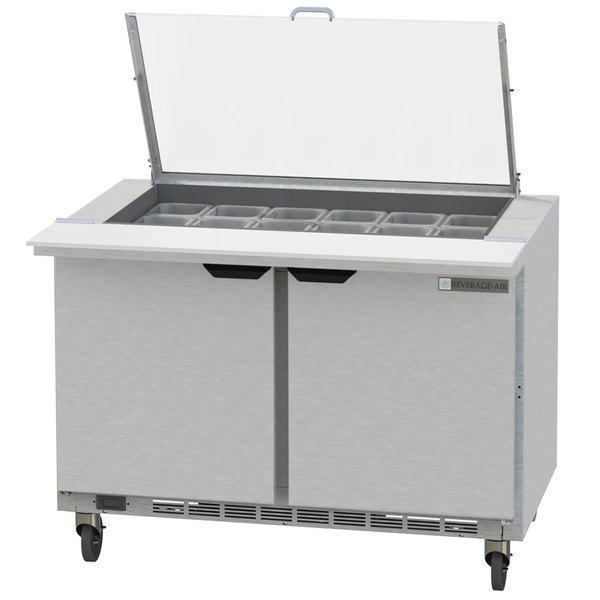 "Beverage-Air SPED48HC-18M-2-CL Elite Series 48"" 2 Drawer Mega Top Refrigerated Sandwich Prep Table with Clear Lid"
