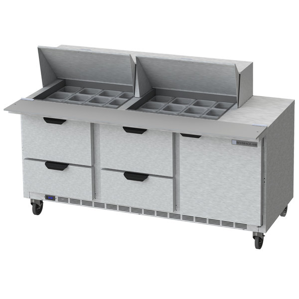 "Beverage-Air SPED72HC-24M-4-CL Elite Series 72"" 1 Door 4 Drawer Mega Top Refrigerated Sandwich Prep Table with Clear Lid"