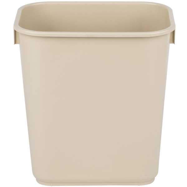 Continental 1358be 13 6 Qt 3 Gallon Beige Rectangular Wastebasket Trash Can