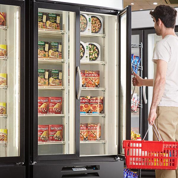 "Beverage-Air MMF49HC-1-B MarketMax 52"" Black Glass Door Merchandising Freezer - 46.2 Cu. Ft. Main Image 4"