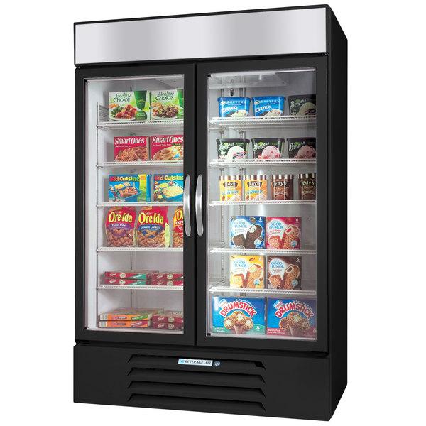 "Beverage-Air MMF44HC-1-B-EL MarketMax 47"" Black Glass Door Merchandiser Freezer with Electronic Lock - 44 cu. ft. Main Image 1"