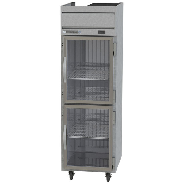 "Beverage-Air HFP1HC-1HG Horizon Series 26"" P Finish Top Mounted Half Glass Door Reach-In Freezer Main Image 1"