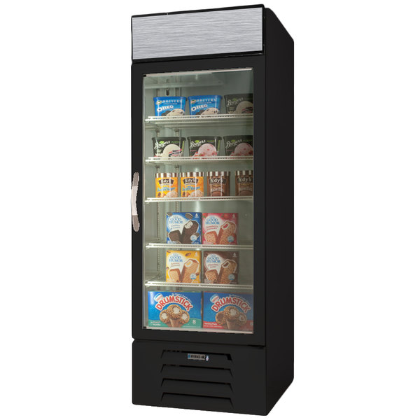 "Beverage-Air MMF23HC-1-B-EL MarketMax 27"" Black Glass Door Merchandiser Freezer with Electronic Lock - 22.5 cu. ft."