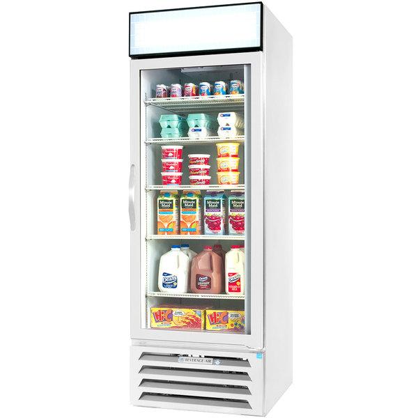 "Beverage-Air MMR23HC-1-W-EL MarketMax 27"" White Refrigerated Glass Door Merchandiser with Electronic Lock - 23.1 cu. ft."