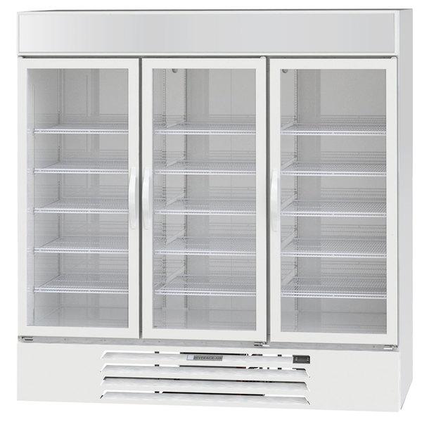 """Beverage-Air MMF72HC-5-W 24"""" MarketMax 75"""" White Glass Door Merchandiser Freezer - 68.5 Cu. Ft. Main Image 1"""