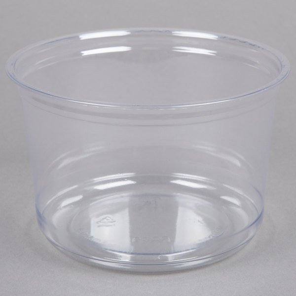 Fabri-Kal Alur RD16 16 oz. Recycled Customizable Clear PET Plastic Round Deli Container - 500/Case
