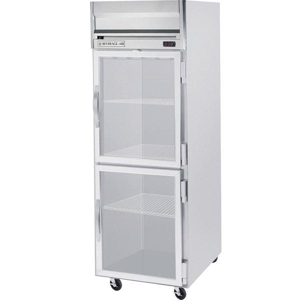 "Beverage-Air HFS1HC-1HG Horizon Series 26"" S Finish Top Mounted Half Glass Door Reach-In Freezer Main Image 1"