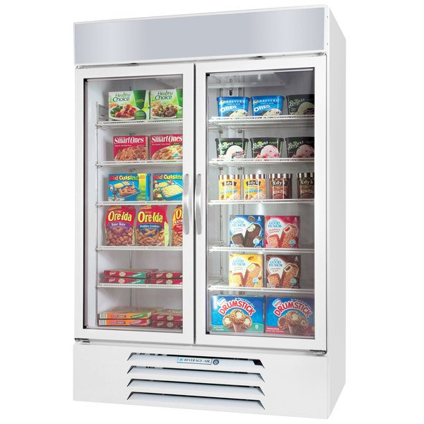 "Beverage-Air MMF44HC-1-W-EL MarketMax 47"" White Glass Door Merchandiser Freezer with Electronic Lock - 44 cu. ft. Main Image 1"