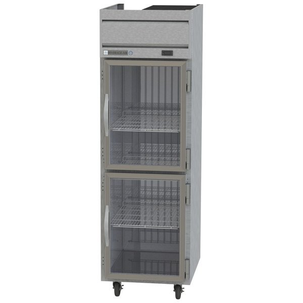"Beverage-Air HFPS1HC-1HG Horizon Series 26"" PS Finish Top Mounted Half Glass Door Reach-In Freezer Main Image 1"