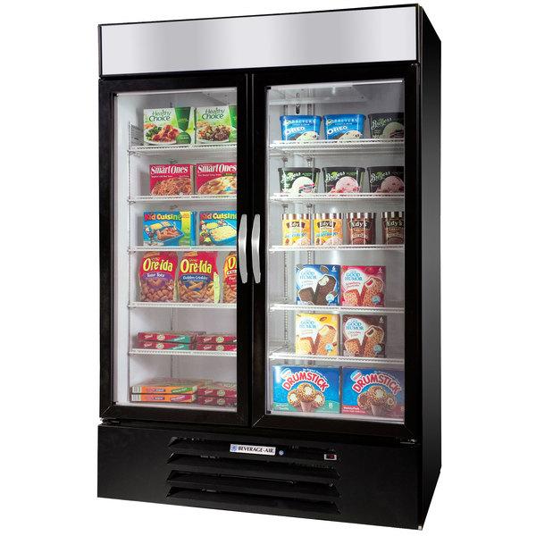 "Beverage-Air MMF49HC-1-B-EL MarketMax 52"" Black Glass Door Merchandiser Freezer with Electronic Lock - 46.2 cu. ft. Main Image 1"