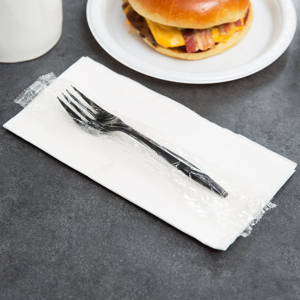 Choice Individually Wrapped Medium Weight Black Plastic Fork - 1000/Case