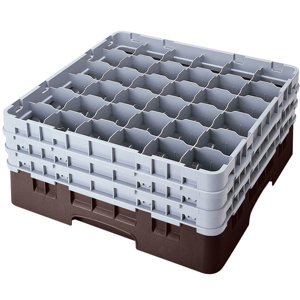 """Cambro 36S958167 Brown Camrack Customizable 36 Compartment 10 1/8"""" Glass Rack Main Image 1"""