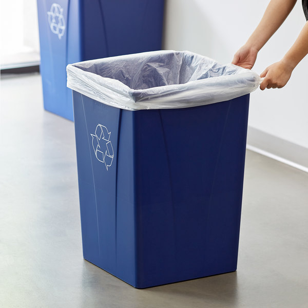 Carlisle 343935REC14 Centurian 35 Gallon Blue Square Recycling Bin