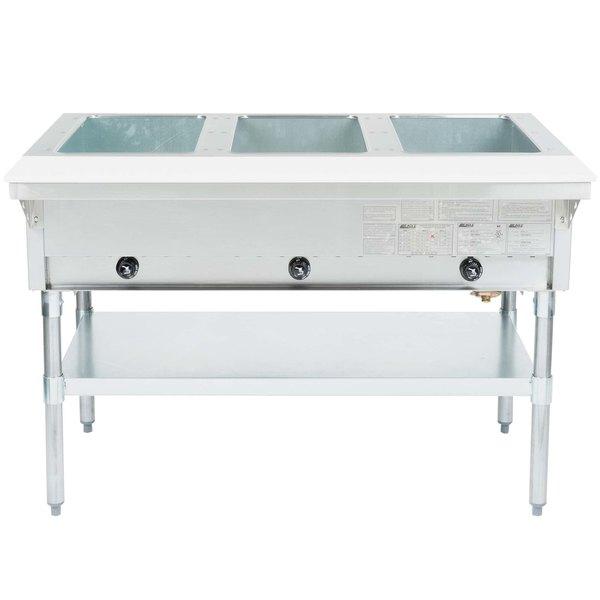Eagle Group HT3 Liquid Propane Steam Table Three Pan 10,500 BTU - Open Well