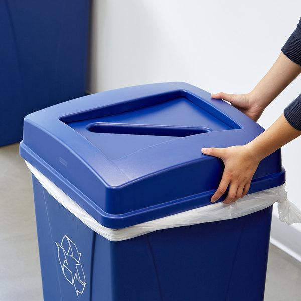 Carlisle 343937REC14 Centurian 35 Gallon Blue Square Gallon Recycling Bin Lid with Paper Slot