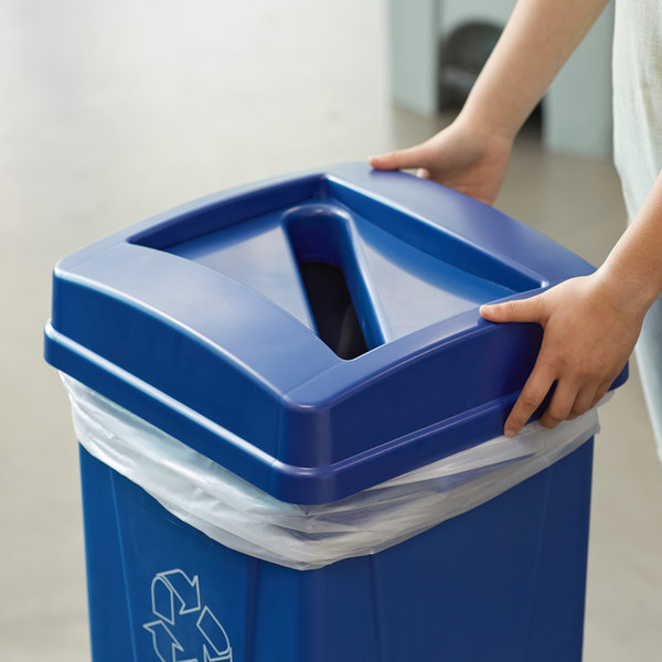 Carlisle 343526REC14 Centurian 23 Gallon Blue Square Recycling Bin Lid with Paper Slot