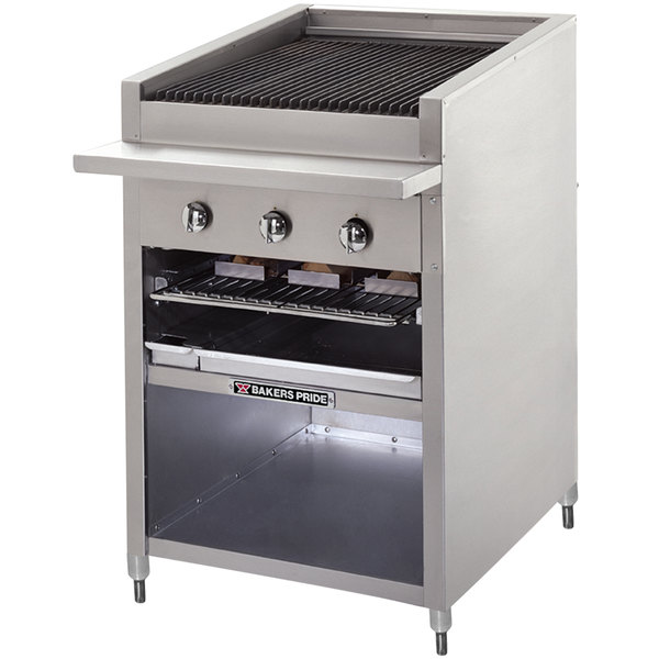 "Bakers Pride F-48GS Natural Gas 48"" Floor Model Glo Stone Charbroiler - 198,000 BTU Main Image 1"
