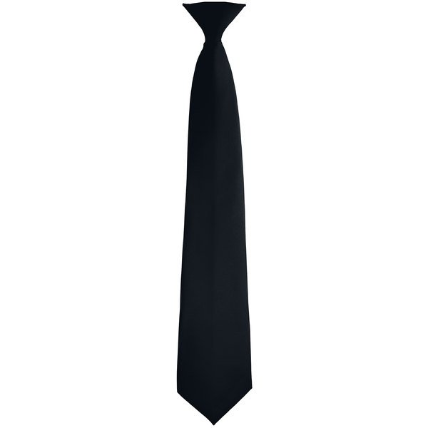 """Henry Segal 3 1/2"""" Customizable Black Pre-Knotted Straight Clip-On Neck Tie Main Image 1"""