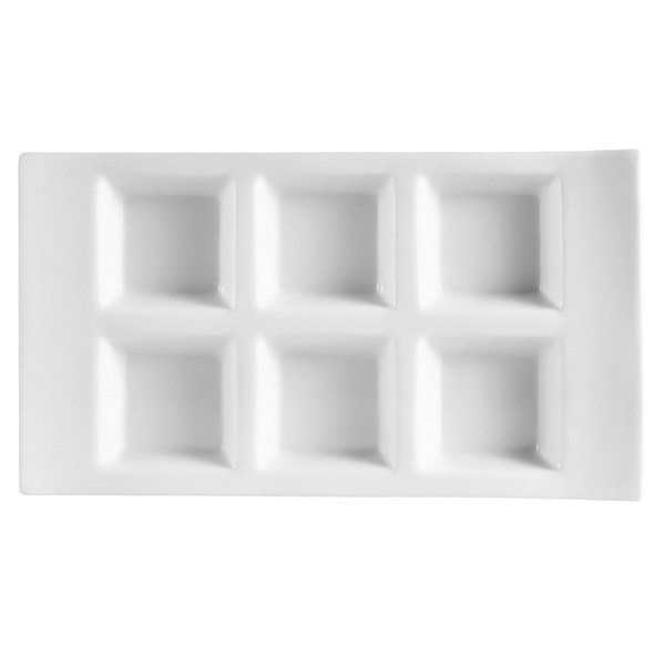 """CAC CN-6T10 10 3/4"""" x 6"""" x 1 1/8"""" Porcelain Rectangular 6 Compartment Tasting Tray - 12/Case"""