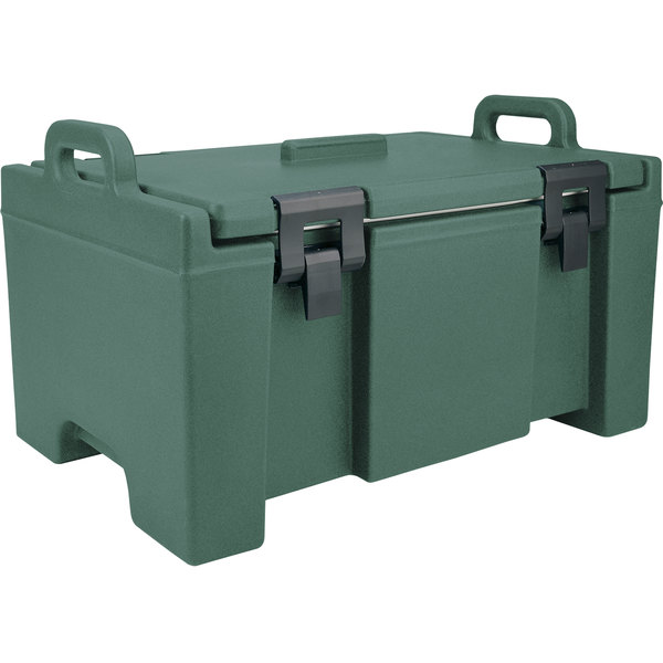 "Cambro UPC100192 Camcarrier® Granite Green Top Loading 8"" Deep Insulated Food Pan Carrier Main Image 1"