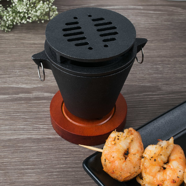 Hibachi Set with Cast Iron Grill, Wooden Base, and Fuel Holder