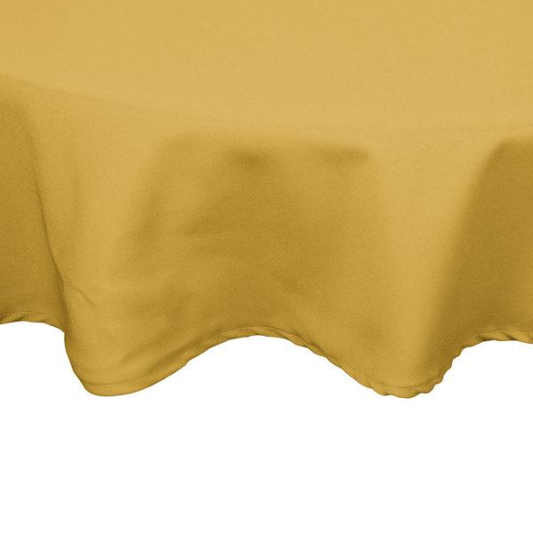 "54"" Yellow Round Hemmed Polyspun Cloth Table Cover"