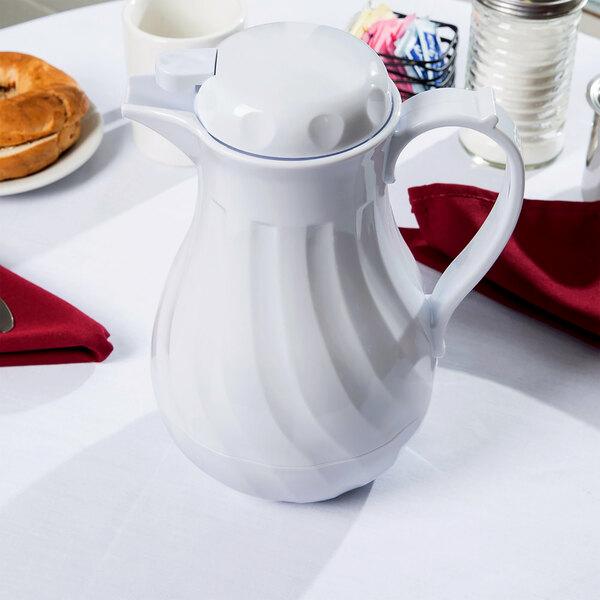 Choice 42 oz. White Swirl Thermal Coffee Carafe / Server Main Image 3