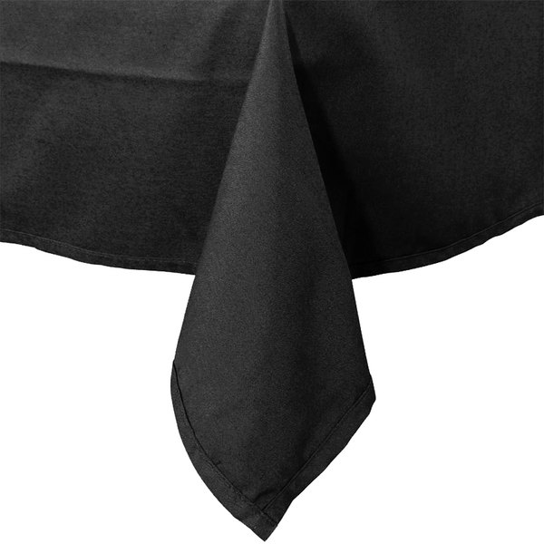 "64"" x 120"" Black 100% Polyester Hemmed Cloth Table Cover"