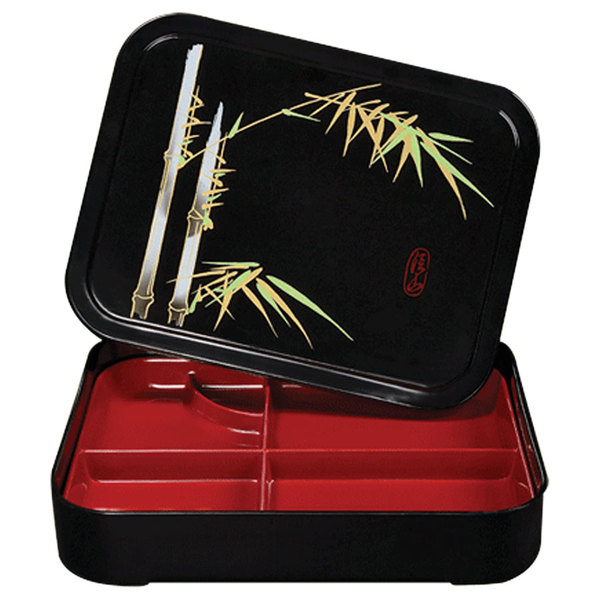 "GET 171-F Fuji 10 3/4"" x 8 1/4"" x 2 1/4"" Five Compartment Black and Red Two-Tone Bento Box with Cover - 12/Pack Main Image 1"