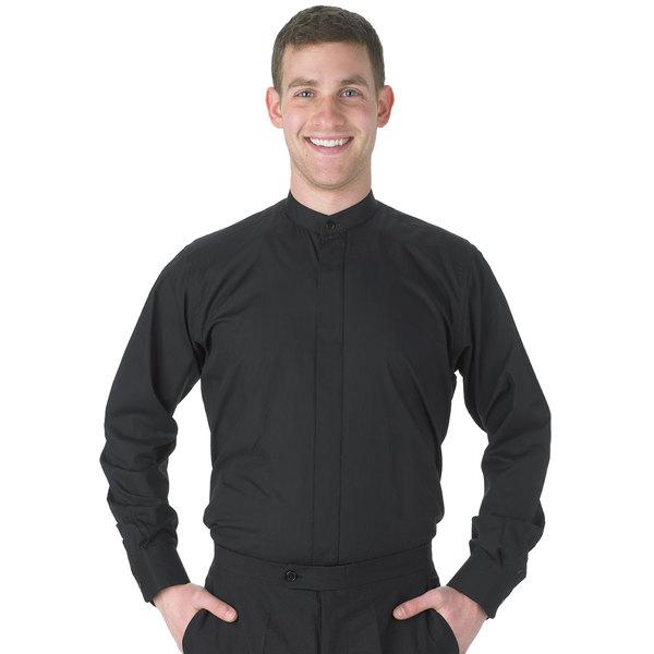 Henry Segal Men's Customizable Black Long Sleeve Band Collar Dress Shirt - S Main Image 1