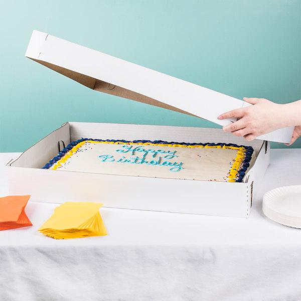 "Baker's Mark 26 1/2"" x 18 1/2"" x 3"" White Full Sheet Cake / Bakery Box Top - 50/Bundle Main Image 5"